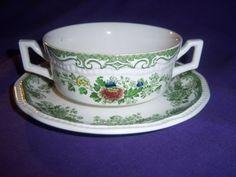 green-transferware-BALMORAL-KENSINGTON-STAFFORDSHIRE-cream-soup-cup-bowl-plate