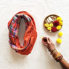 Plaid Infinity Scarf - Orange from Pomogrenade