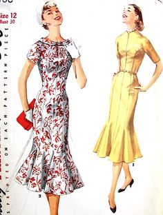 1950s GLAMOROUS Figure Molding Dress Day or Evening Pattern SIMPLICITY 1486 Bust 30 Vintage Sewing Pattern FACTORY FOLDED