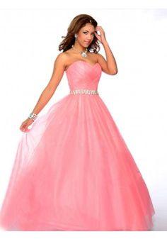A-line Sweetheart Sleeveless Tulle Prom Dress With Rhinestone #QA754
