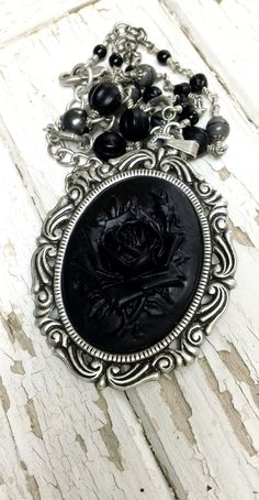 S h a d o w s. Gothique style Black on Black Rose NECKLACE by EternalAutumn, $42.00