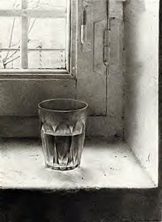still life drawing of clear glass of water on old window sill, pencil drawing- Antonio Lopez Garcia Still Life Drawing, Still Life Art, Pencil Art, Pencil Drawings, Crayon, Gravure, Drawing Sketches, Sketching, Painting & Drawing