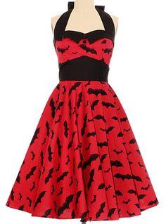 Batty Bombshell Retro Halter Dress in Red $74.00 AT vintagedancer.com #halloween