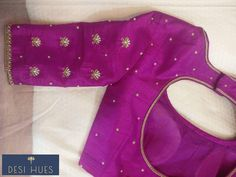 Saree Blouse Neck Designs, Simple Blouse Designs, Maggam Work Designs, Designer Blouse Patterns, Work Blouse, Sarees, Embroidery, Pink, Ideas