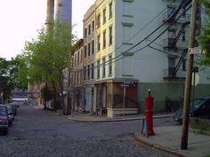 A cobblestone street on Hudson Avenue in Vinegar Hill, Brooklyn NY