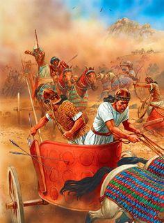 combate entre carros egipcios e hititas, también por cortesía de Peter Dennis. http://www.elgrancapitan.org/foro/viewtopic.php?f=87&t=16979&p=880138#p880122