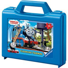 Ravensburger Thomas and Friends: Cleaning Thomas Puzzle in a Suitcase Box, 35 Pieces
