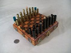 Mini BULLET SHELL Steampunk Chess Set 3 by OldeWorldCC on Etsy