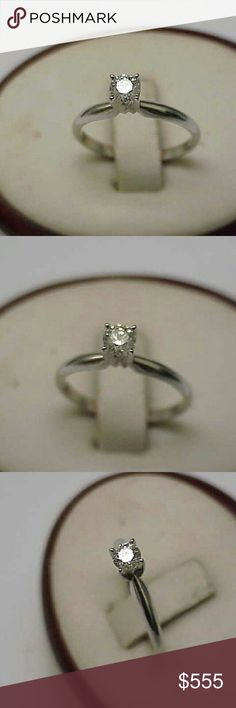 Antique 14k gold  .25ct diamond engagement ring 14k white gold 4mm old European cut diamond vs in clarity and h in color engagement ring.  Stamped 14k. Size 6 1/2. Jewelry Rings