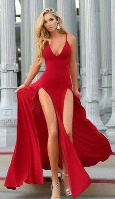 summer red long dress