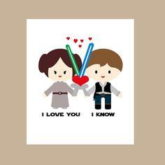 Star Wars Valentine Card- Geek Anniversary Card-Star Wars Anniversary Card -Star Wars Valentine Card - Princess Leia - I Love You I Know