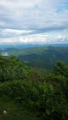 The view from atop the blue ridge parkway at the Pisgah Inn (see french silk pie under dessert board)