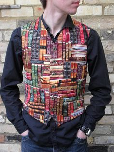 Library Books Print Mens Clothing Waistcoat Vest Geek Chic Black Red Yellow Green. £40.00, via Etsy.
