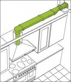 Can we run it through the wall to bathroom external wall and combine boxing with bathroom fan? Or combine with boiler's hole in external wall? With two 90 bends, ducting should be max (double check). Kitchen Room Design, Home Decor Kitchen, Kitchen Layout, Kitchen Furniture, Kitchen Interior, Home Interior Design, Home Kitchens, Kitchen Vent, Kitchen Hoods