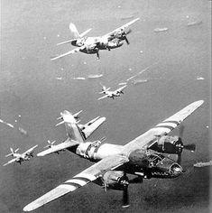D-Day June 6, 1944: U.S. bombers B-26 Marauder fly over invasion fleet