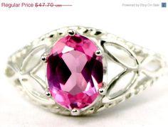 Valentines Sale 30% SR137 Created Pink Sapphire 925 by SylvaRocks2
