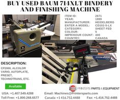 Printer's Parts & Equipment Offer Printer's Parts & Equipment Offer BAUM Bindery and Finishing Machine at worldwide. For more nformation, call us / Paper Size, Printer, It Is Finished, Stuff To Buy, Printers