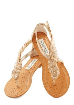 A Flight to See Sandal in Champagne - Flat, Faux Leather, Beads, Beach/Resort, Summer, Good, Wedding, Gold, Daytime Party, Variation