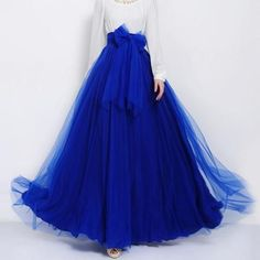 Sapphire Blue Tulle Maxi Skirt with Bow Sash and Extra Wide Hem - Long – RobePlus