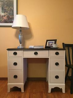 Chalk painted and stained student desk