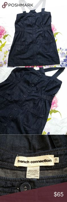 FRENCH CONNECTION Jean Overall Dress Dark Blue wash, adjustable straps, 2 pockets, clinched waist, full button down front. All jean buttons. Marked as size 10, but can fit smaller individuals if a sweater is worn underneath it (that's how is wear it!) French Connection Dresses