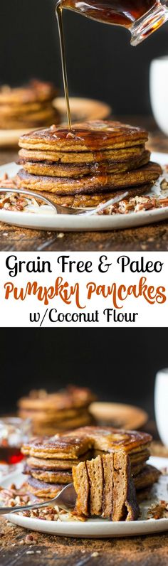 grain free and paleo pumpkin pancakes made with coconut and tapioca flour. Healthy, soft and fluffy, perfectly sweet and packed with warm pumpkin pie spices! Gluten free, dairy free.
