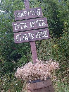 Happily Ever After stake sign available for rent at Dressing Room No. 5 in Aylmer, ON.