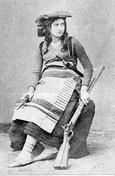 Michelina de Cesare, b;1841, died (killed by piemontesian soldiers) in 1868, woman from South Italy who joined a group of warriors for freedom of south italy (brigantessa).and a Mix of bandit. Married to head of gang Franco Guerra.Many women armed to fight & kill in gang.Many dressed like old west photo's - http://www.RGrips.com