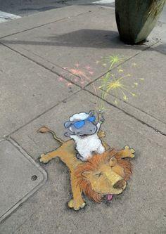 Lambs big finale Chalk Art for All Seasons - David Zinn Street Art Graffiti, Murals Street Art, 3d Street Art, Street Artists, Graffiti Artists, David Zinn, Best Street Art, Amazing Street Art, Pavement Art