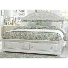 Shop Summer House Oyster White Cottage Storage Bed - On Sale - Overstock - 12027319 - Queen King Storage Bed, White Cottage, Furniture, Storage Footboard, Bedroom Set, Cottage Storage, Bed Storage, Liberty Furniture, Bedroom Furniture