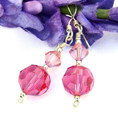 Rose Pink Swarovski Crystal Handmade Earrings Sterling Sparkly Jewelry | ShadowDogDesigns - Jewelry on ArtFire