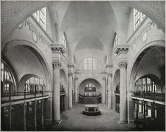 Interior of the Terminal Station for street cars and trolleys arriving at the Columbian Expostion, 1893, Chicago.