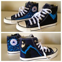 I NEED THESE!!  Nightwing Sneakers by breathless-ness.deviantart.com on @deviantART