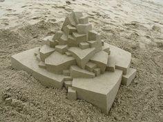 Geometric Sandcastles by Calvin Seibert sculpture sand geometric polygonal geometric art sculpture form from sand
