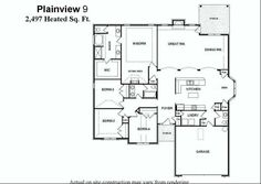 Single Level Floor Plans with Large Eat-In Kitchen