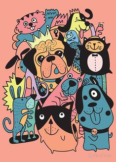 Cute Cats and Dogs ,vector illustration Wallpaper Doodle, Phone Wallpaper Images, Cute Disney Wallpaper, Animal Doodles, Doodle Dog, Dog Vector, Dog Poster, Cute Cats And Dogs, Animals Images