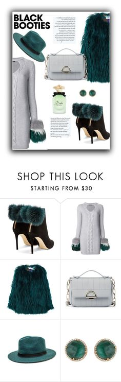 """""""Not so Basic Black Booties"""" by annoula-g ❤ liked on Polyvore featuring Jimmy Choo, Philipp Plein, MANGO, Sole Society, Peter Grimm, Carousel Jewels and Dolce&Gabbana"""