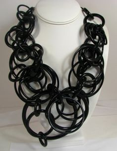 Black circles are fun. The necklace has the cord ties, and can be adjusted up or down with the cords. This is another fabulous necklace. Black Jewelry, Jewelry Art, Fashion Jewelry, Jewelry Design, Monies Jewelry, Jewelery, Circle Earrings, Clip On Earrings, Vintage Costume Jewelry