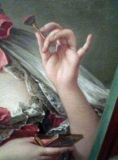 Makeup, then. François Boucher, Madame de Pompadour (detail of hand), oil on canvas, 1750
