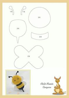 Easy Crafts For Friends - Summer Crafts For Kindergarteners Fun - Christmas Crafts For Kids At School Grandparents - Felt Animal Patterns, Felt Crafts Patterns, Applique Patterns, Stuffed Animal Patterns, Quiet Book Templates, Felt Templates, Motifs D'appliques, Bee Crafts, Easy Crafts