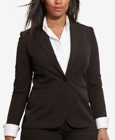 Lauren Ralph Lauren Plus Size Single-Button Twill Jacket | macys.com