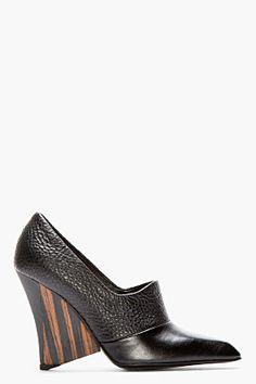 Stella McCartney Black Pebbled & Matte Wood-heel Pumps for women | SSENSE