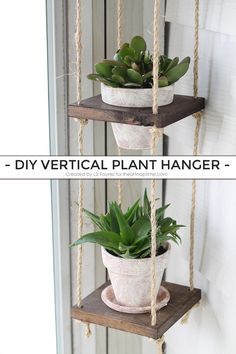 Learn how to make an easy DIY Vertical Plant Hanger! Perfect for small spaces!