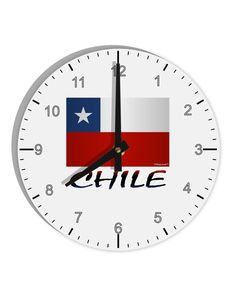 """Chile Flag 8"""" Round Wall Clock with Numbers"""