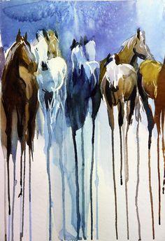 Daily Paintworks - - Original Fine Art for Sale - © Beata Musial-Tomaszewska Watercolor Horse, Watercolor Paintings, Drip Art, Smart Art, Fine Art Auctions, Equine Art, Horse Art, Pictures To Draw, Portrait Art