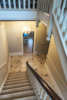 Papyrus Tumbled limestone tiles as a hallway floor with one belgian blue cabochan Limestone Flooring, Natural Stone Flooring, Belgian Blue, Victorian Hallway, Hallway Flooring, Tumbled Stones, Flagstone, Stone Tiles, Floors