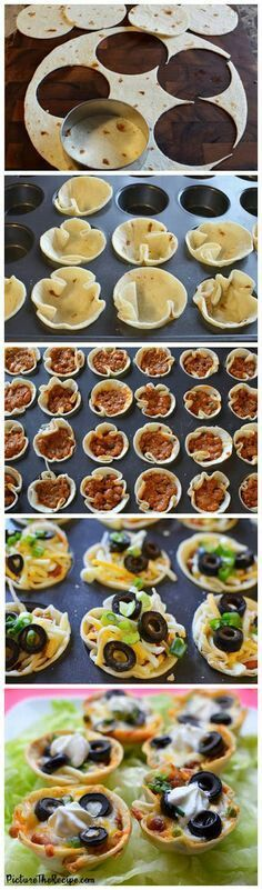 Stuffed Tortilla Cups 1. Cut out circles from the tortilla - 2. Insert the circles into a greased muffin pan (forms the cup shape here) - 3. Fill with desired ingredients (can include: baked beans, tomatoes, avocados, lettuce, olives, salsa, ground meat, ect) - 4. Top with cheese and bake in a preheated oven set to 350 F until the cheese is melted and top with a dollop of sour cream, Enjoy!