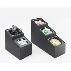 Classic Inline Condiment Organizer: Featuring a black durable ABS body, this tiered condiment organizer hold packets, creamers, and even flatware! Pair multiple organizers for large varieties or use it on its own - a sure way to organize your food service area! www.calmil.com