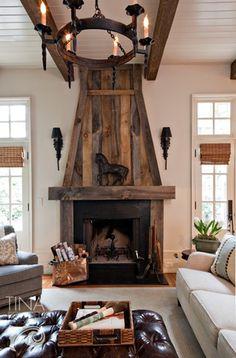 salvaged wood mantle
