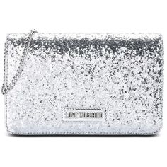 Love Moschino Clutch ($175) ❤ liked on Polyvore featuring bags, handbags, clutches, silver, metallic clutches, love moschino, metallic handbags, magnetic closure handbags and love moschino handbags